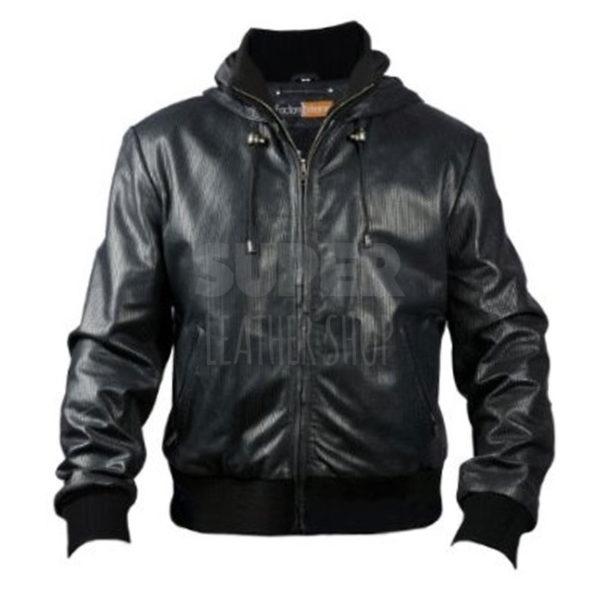 Men-Black-Bomber-Soprano-Perforated-Hoodie-Jacket