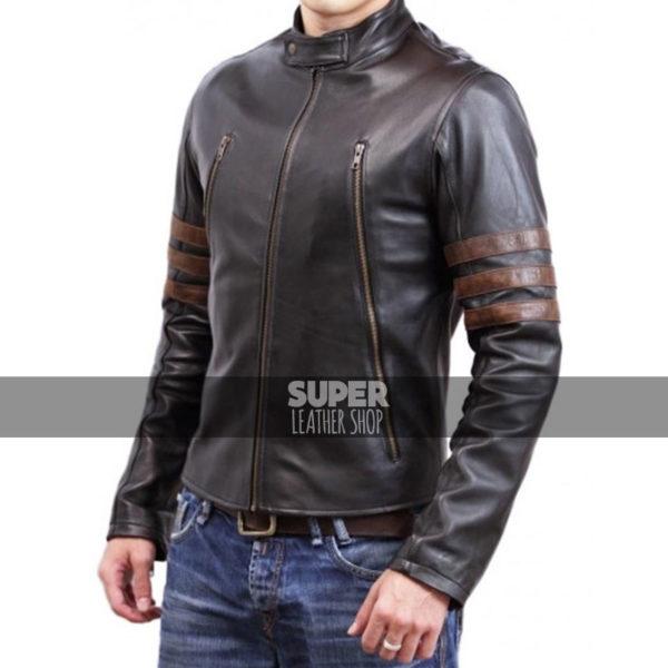 X-Men Wolverine Origins Logan Brown Biker Leather Jacket