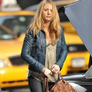 Blake Lively Blue Winter Leather Jacket