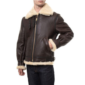 Men Leather Fur Jacket Brown