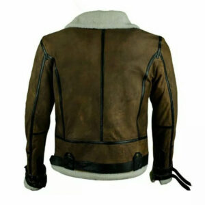 Men Fur Green Leather Jacket