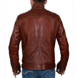 Mens Lambskin Leather Brown Cafe Racer Jacket