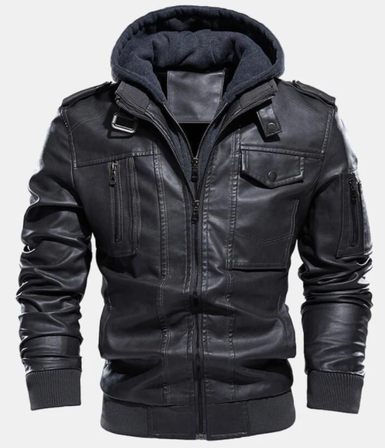 MENS WASHED PU LEATHER ZIP UP POCKET DETACHABLE HOODED ELASTIC HEM THICK JACKETS3