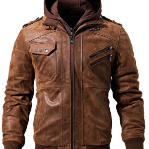 Men Brown Hood Leather Motorcycle Jacket