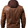 Men Brown Leather Motorcycle Jacket with Removable Hood-back