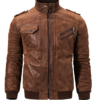 Men Brown Leather Motorcycle Jacket with Removable Hood-back2