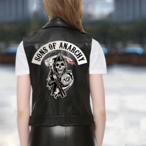 Women's Sons of Anarchy Motorcycle Leather Vest Jacket Spring Black Sleeveless Jackets