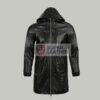 Mens Black Long Hoody Leather Jacket