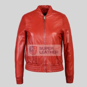 Womens Red bomber Leather Jacket