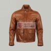 Mens 3 Quater Cognac Leather Jacket