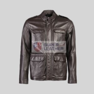 Mens 3 Quarter Choco Brown Leather Jacket
