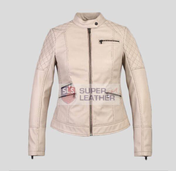 Womens Beige Biker Leather Jacket