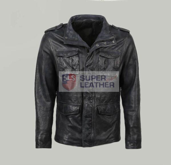 Mens 3 Quarter Blue Leather Jacket