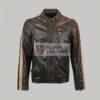 Mens Motor Biker Brown Leather Jacket