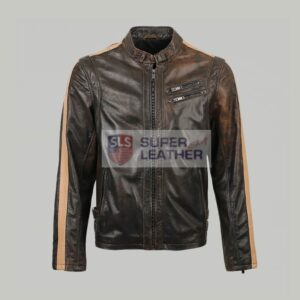 Mens Motor Biker Brown Leather Jacket