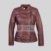 Womens Medium Brown Biker Leather Jacket
