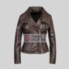 Women Choco Brown Leather Jacket