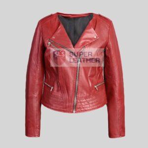 Women Dark Red Leather jacket