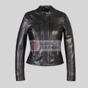 Women Black Biker Leather Jacket