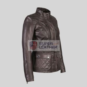 Women Brown 3 Quarter Leather Jacket