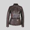 Women Brown 3 Quarter Leather Jacket