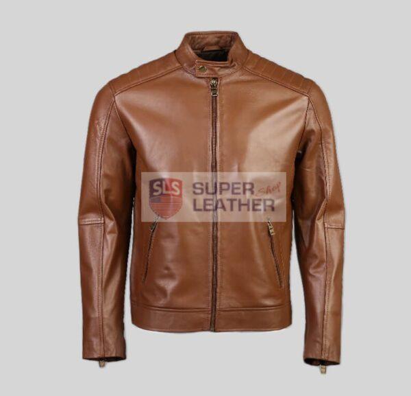Mens Cognac Biker Leather Jacket