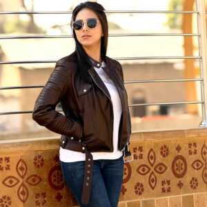 Women Brown Biker Leather Jacket