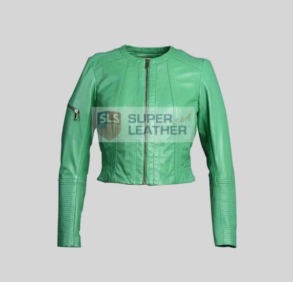 Women Apple Green Leather Jacket