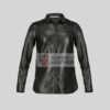 Women Black Shirt Style Leather Jacket