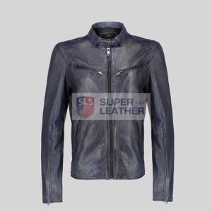 Mens Royal Blue Biker Leather Jacket