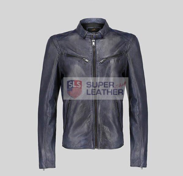 Mens Royal Blue Biker Leather Jacket