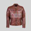 Mens Dark Brown Biker Leather Jacket