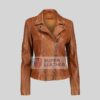 Womens Cognac Leather Jacket Perfecto Style