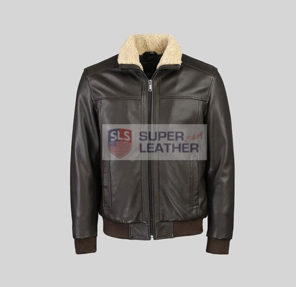 Mens Choco Brown Bomber Leather Jacket