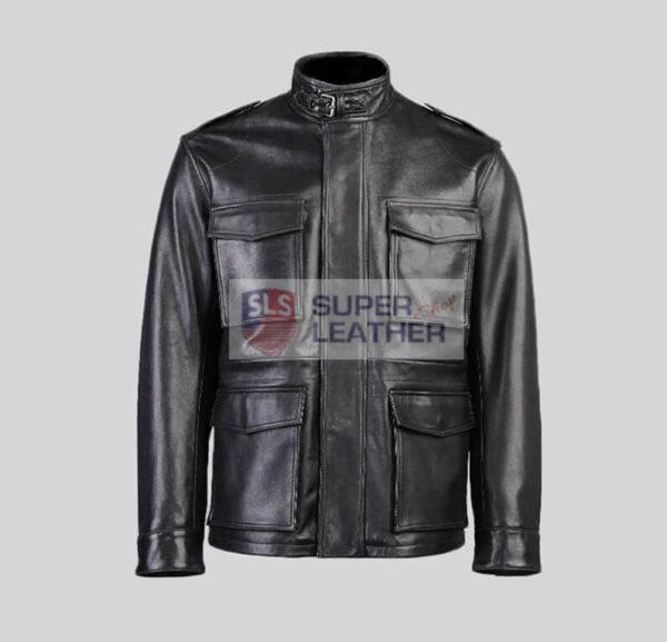 Mens Black 3 Quarter Leather Jacket