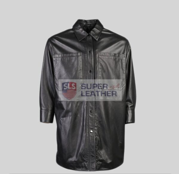 Women Black Shirt Leather Jacket