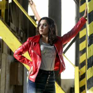 Womens Red Perfecto Leather Jacket