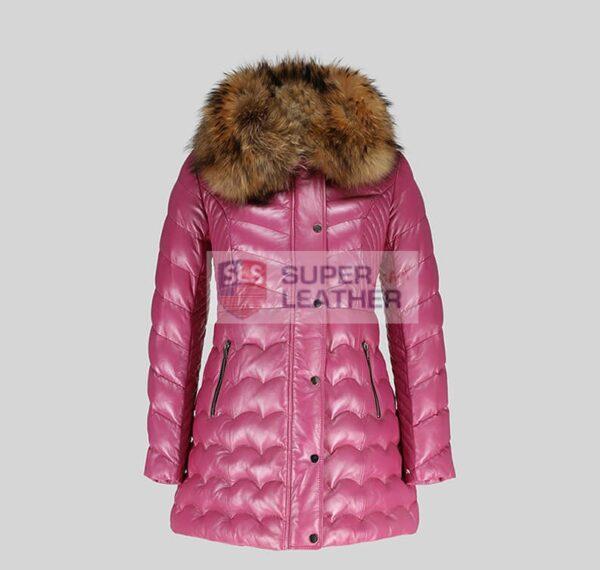 Women Pink Long Coat Jacket