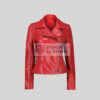 Womens Red Leather Jacket Perfecto Style