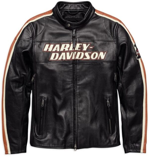 Torque Men's Leather Motorcycle Embroidered Jacket