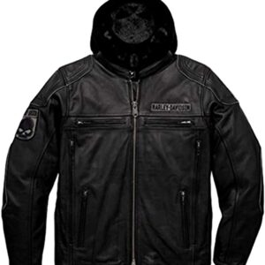 Men's Women's Fashions 3 in 1 Removeable hooded REAL Leather Jacket