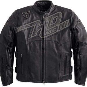 Men's Embroidered Leather Black Jacket