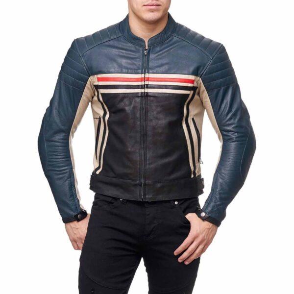 Men's, Rider's Multi Zipper Blue Cowhide Leather Biker Style Motorbike Jacket