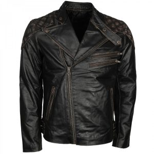 Men's Vintage Distressed Skull Embossed Motorcycle Black Leather Jacket