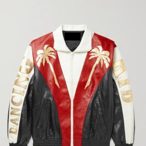 Appliquéd Colour-Block Leather Jacket