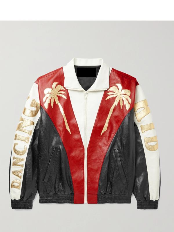 Appliquéd Colour-Block Leather Jacke