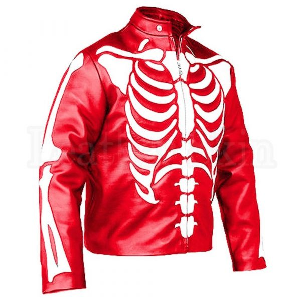 SLS Men Red Skeleton Printing Western Style Leather Jacket