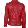 SLS Women Red Leather Jacket With Cone And Tree Spike Studs