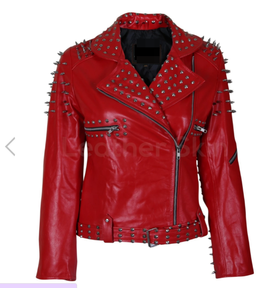 Women Red Leather Jacket With Cone And Tree Spike Studs2