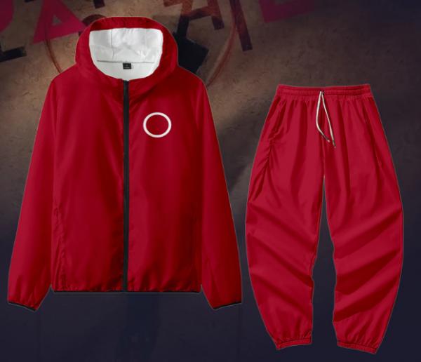 Circle-Men Women Jacket Pant Set Squid Game Square Circle Geometry Stand Collar